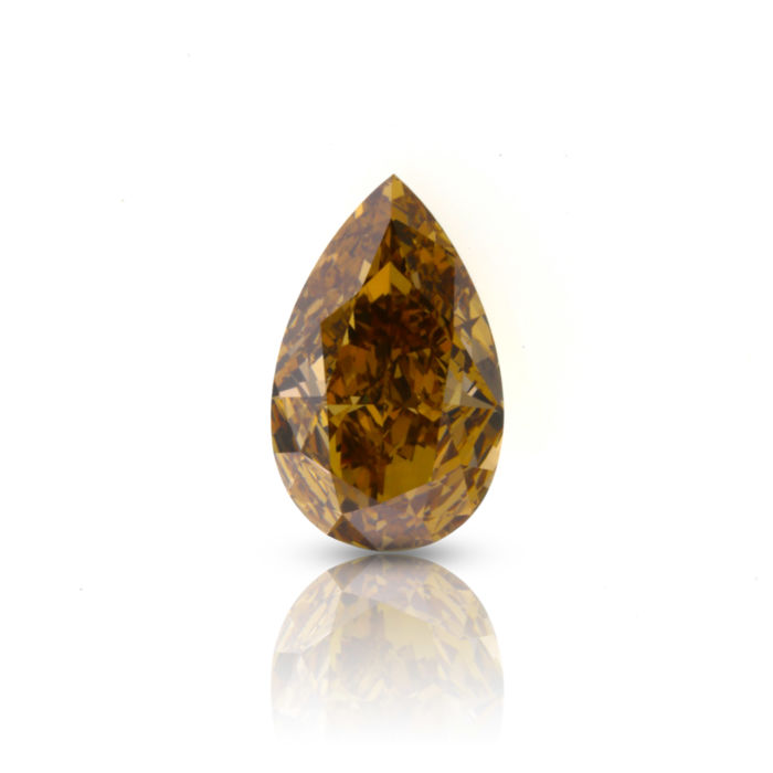 1.52 ct. Natural Fancy Intense Yellowish Brown Pear shape Diamond, HRD Certified