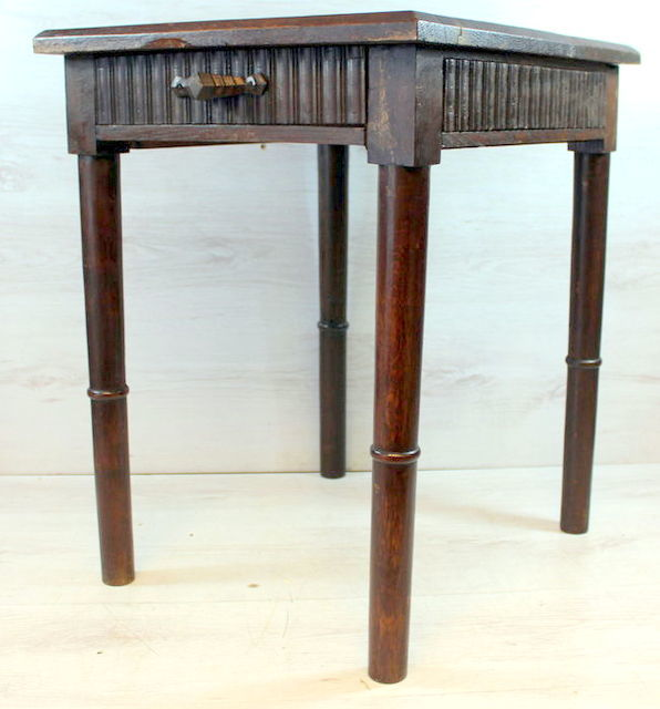 Antique Oak Side Table   Netherlands   Early 20th Century