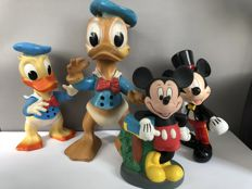 Disney - 2 Rubber figures Donald Duck + Mickey Mouse money box + Mickey Mouse Magician figure (1960's/1990's)