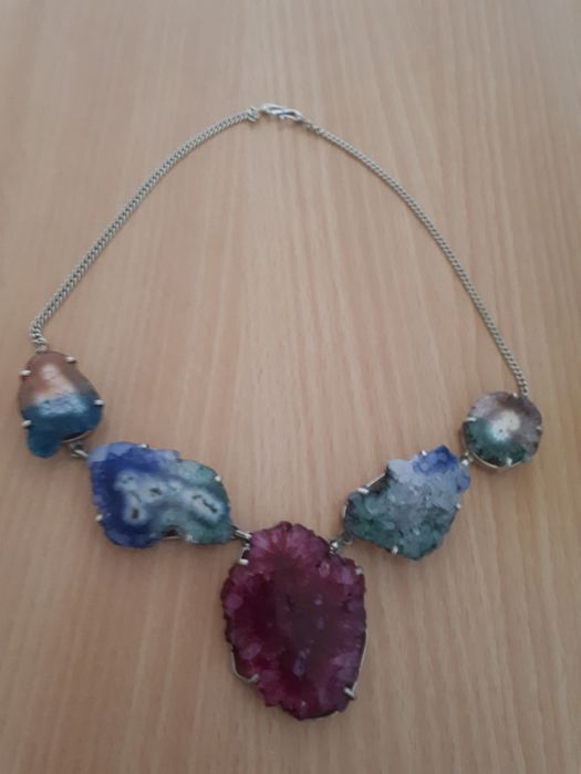 Agate mineral necklace made of silver 88.5 grams