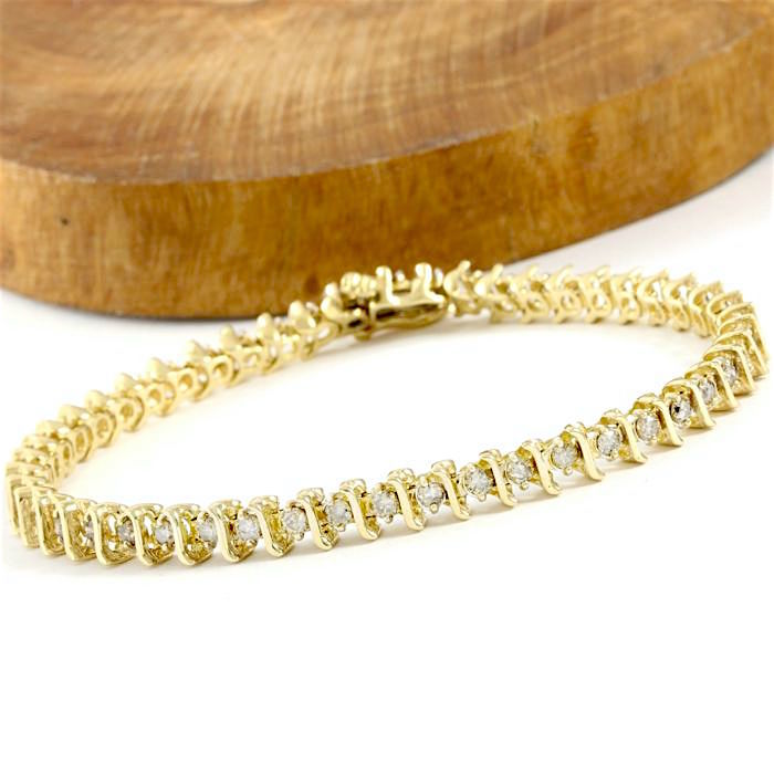 14kt Yellow Gold Tennis Bracelet with 2.00 ct J-K, SI2-I1 Diamond - 18.5 cm