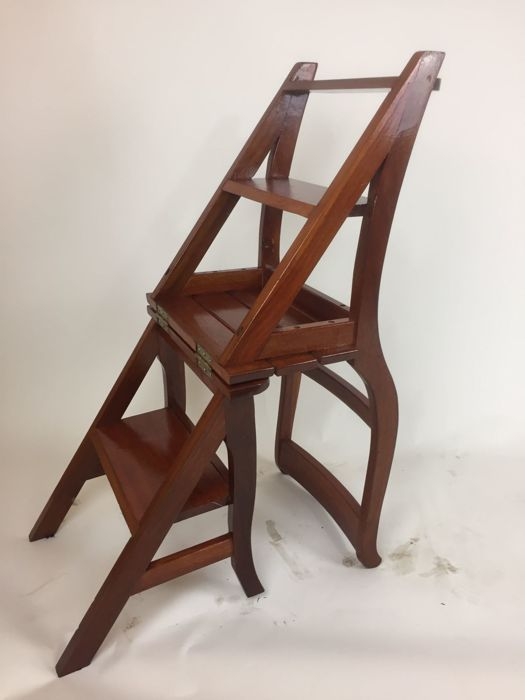 Wooden Library Chair/ladder, Second Half Of 20th Century