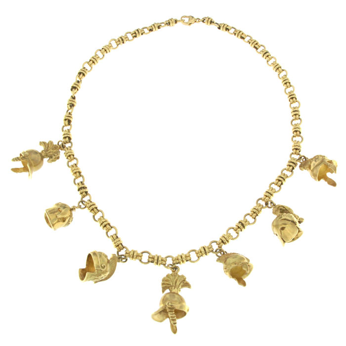 Yellow gold necklace with charms, from the Athens collection