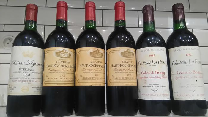 1995 Château Haut Rochers Bayard x 3 bottles and 1990  Chateau Lagarenne Bordeaux x 1 bottle, 1982 chateau la pierre cote de bourg x 2 bottles total 6 bottles