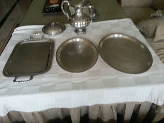 3 trays, a jug and a candy bowl - Silver-plated metal - Received as wedding gift, 1967