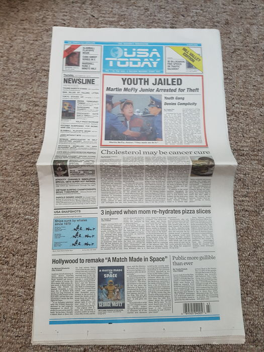 Back to the Future - USA Today October 22, 2015 Newspaper copy