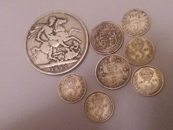 United Kingdom - 3 Pence, 6 Pence and Crown 1816/1918 (8 pieces) - silver