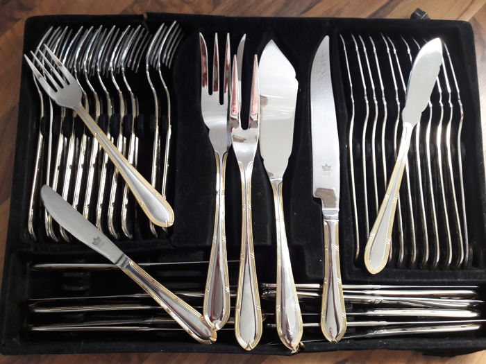SBS Solingen - 40 piece hard gold plated cutlery luxury - fish - cutlery for 12 & SBS Solingen - 40 piece hard gold plated cutlery luxury - fish ...