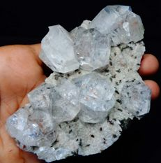 Apophyllite water clear crystal cluster on chalcedony - 11 x 7.5 cm - 369 gm