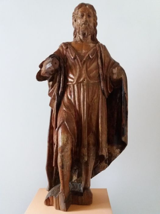 St. John the Baptist, wooden sculpture with marouflage technique - Spain - 16th century