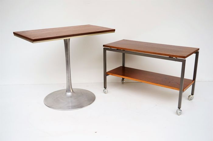 Manufacturer Unknown Vintage Mid Century Modern Side Tabletrolley Plus A Teak Wood Table On A Tulip Foot Catawiki