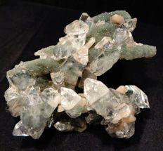 Apophyllite pointed crystals with stilbite on chalcedony - 11 x 8 cm - 151 gm