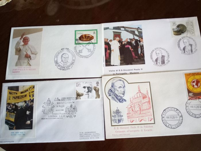 Vatican - 50 envelopes, world travel, San Giovanni Paolo II