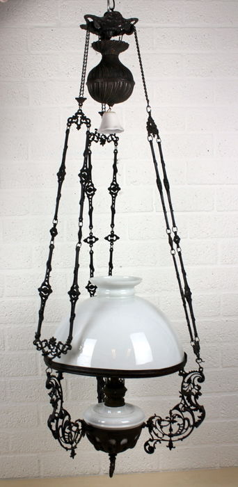 Antique hanging lamp with a porcelain oil reservoir