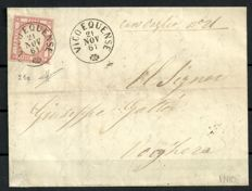 Provinces of Naples 1851 - 5 Gr. Pink on letter from Vico Equense to Voghera - Sassone No.  21e