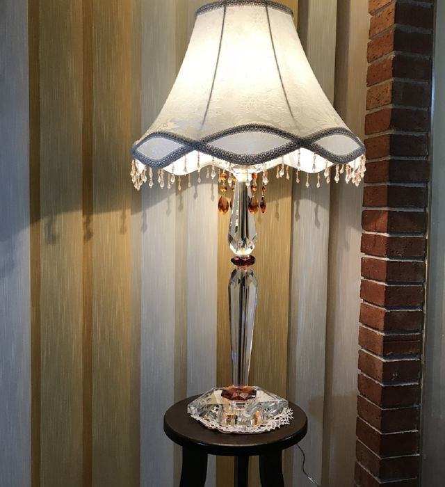 Cut Full Crystal Table Lamp With 31 Lead Rhinestones And Amber