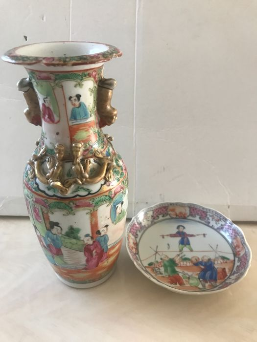 Chinese antique plate and vase - 18th and 19th century