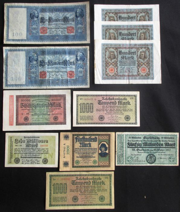 Germany - 92 banknotes - 1902/1923 - Reich - Weimar and emergency currency