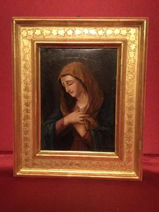 """Oil painting on silver plated copper """"Madonna"""", with gold leaf frame, Italy 18th century"""