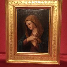 "Oil painting on silver plated copper ""Madonna"", with gold leaf frame, Italy 18th century"