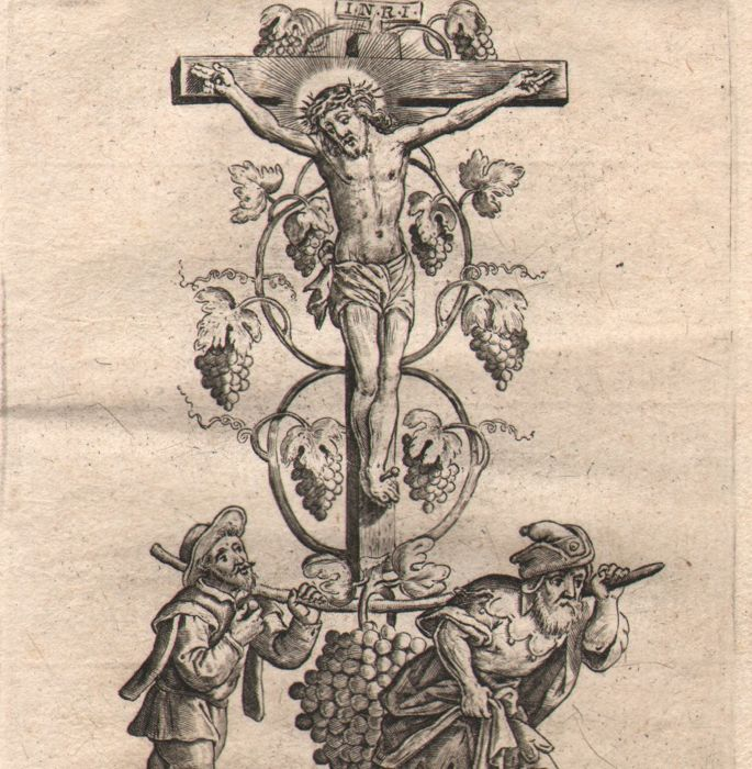 Hieronymus Wierix (1553 - 1619) - Christ on the cross between grapes