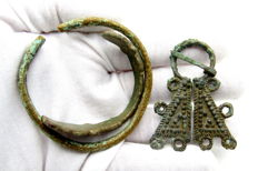 Lot of Medieval Viking period Bronze Penannular Brooch & 2 Bracelets - 45-58mm