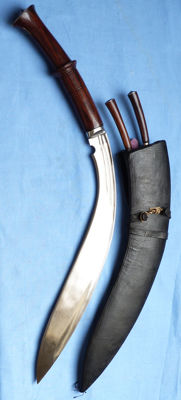 Massive Two-Handed Nepalese Gurkha Kukri and Scabbard + knives