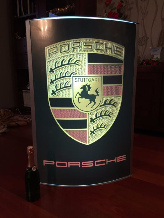 Unique, very large PORSCHE illuminated lightbox / advertising banner - garage / workshop item - 101 x 68 x 17 cm