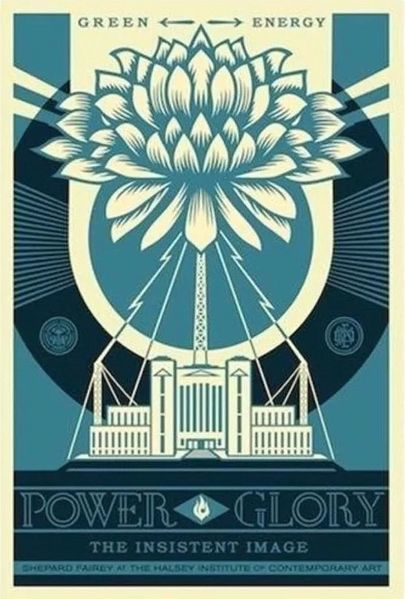 Shepard Fairey (OBEY) - Green Power Large Format  - Blue Variant