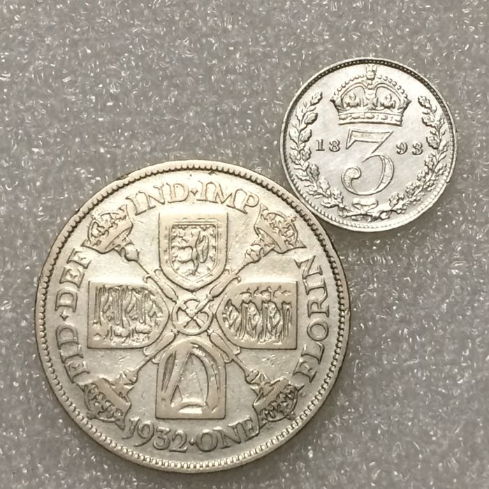 United Kingdom – Florin (Two Shillings) 1932 George V plus 3 Pence 1893 Victoria – Silver