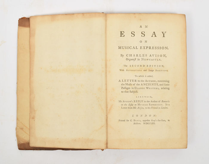 Charles Avison - An Essay on Musical Expression - 1753