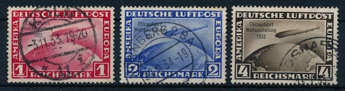 Empire allemand 1933 - Chicagofahrt Graf Zeppelin, 1 RM, 2 RM, 4 RM - Michel 496 - 498