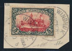 German Colonies - German South West Africa - 1906 - 5 Mark Kaiser yacht with watermark, Michel 32Ab tested H. Bloch and Stolow