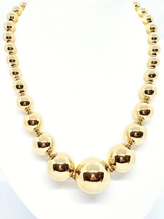 Necklace -  Beads - 18 kt yellow gold - Size 50 cm