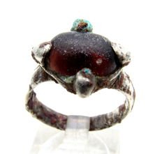 Medieval Viking Era Silver Ring with Red Stone - 18mm