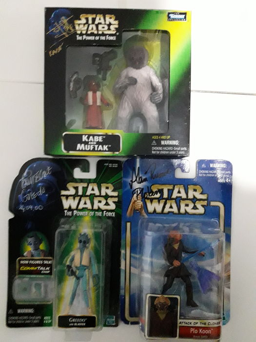 3 Personally signed Star Wars figures - Kabe & Muftak + Greedo + Jedi Plo Kloon.