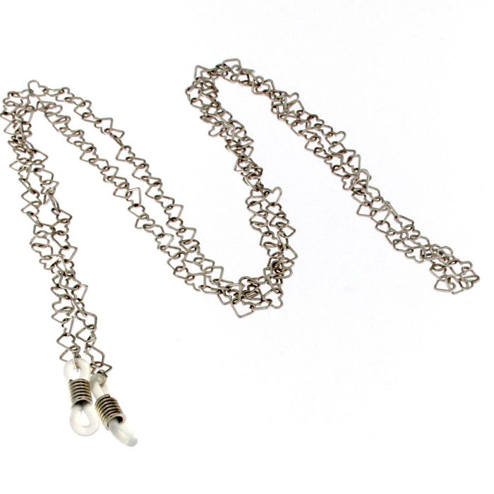 Glasses chain in 18 kt white gold - length: 90 cm