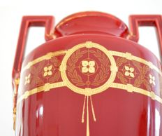 Boch Freres Keramis - A pair of early Jugendstil style ox red vases