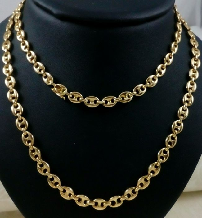 Chain necklace - Sailor mesh or calabrote in 18 t yellow gold. Special length: 81.5 cm