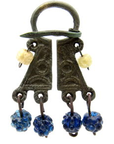 Medieval period Viking Bronze Penannular Brooch with Glass Beads - 68mm