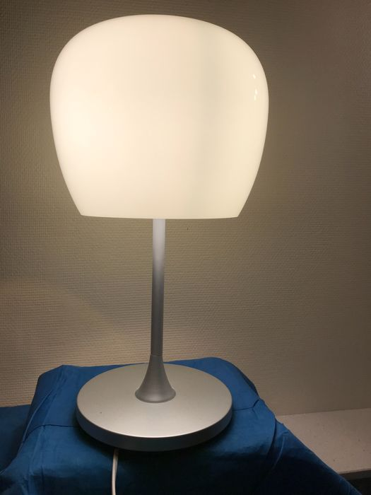 Unknown designer table lamp made of stainless steel and soft yellow green glass shade