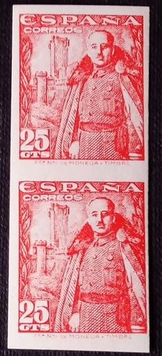 1948–1954 - General Franco at the Castle of La Mota. Pair of imperforate variety - Edifil 1024s