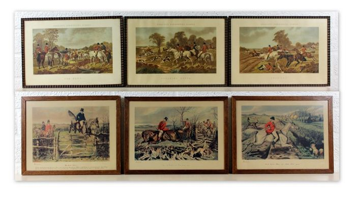 Collection of antique hunting scene engravings in wood frame with glass 6x