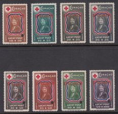 """Curaçao  1944 - Red Cross - NVPH LP45/LP52 with overprint """"SPECIMEN"""" and perforation hole"""