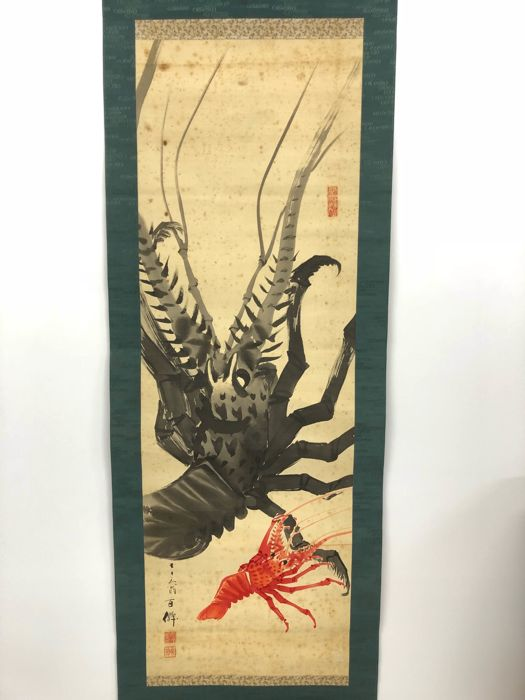 Hanging scroll, paint with ink wash - signed and sealed 'Hyakusen' 百仙 - 'Rock lobsters' - Japan - 1927
