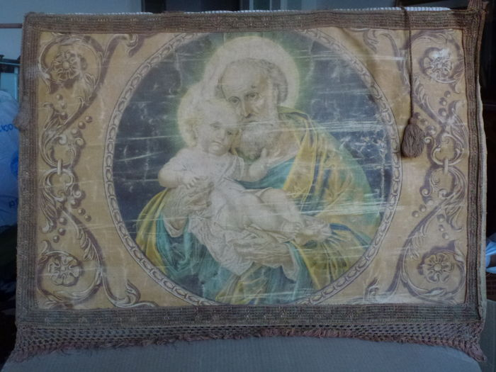 """Antique and rare (late 1800s) bedboard - religious banner - tapestry in Baroque style with depictions of the """"Baby in Joseph's arms"""" from a 19th century painting"""