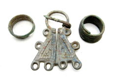 Lot of Medieval Viking period Bronze Penannular Brooch & 2 Coiled Beard Rings - 22-56mm