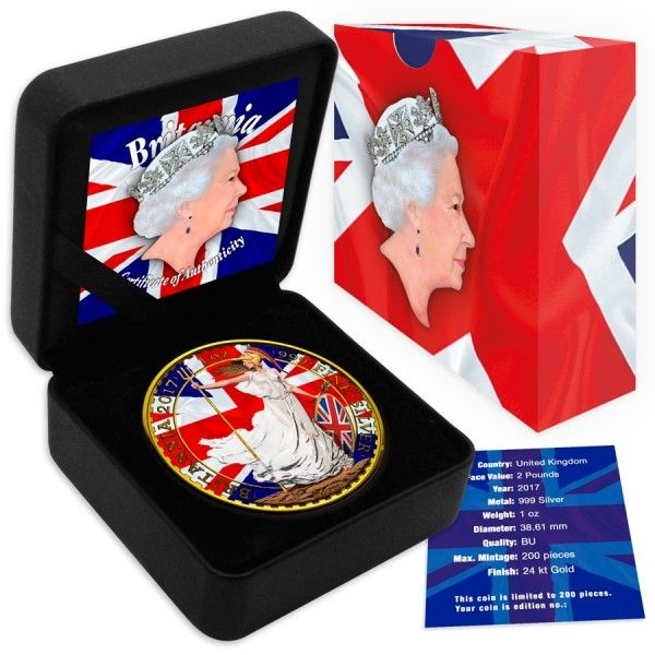 Great Britain – 2 Pounds 2017 'Britannia - Patriotic Flag' colour/gold-plating – 1 oz silver