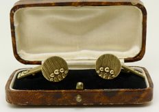 "Artisan made french early 1900s Art Nouveau 18kt ""fix"" gold plated cuff links, no reserve"
