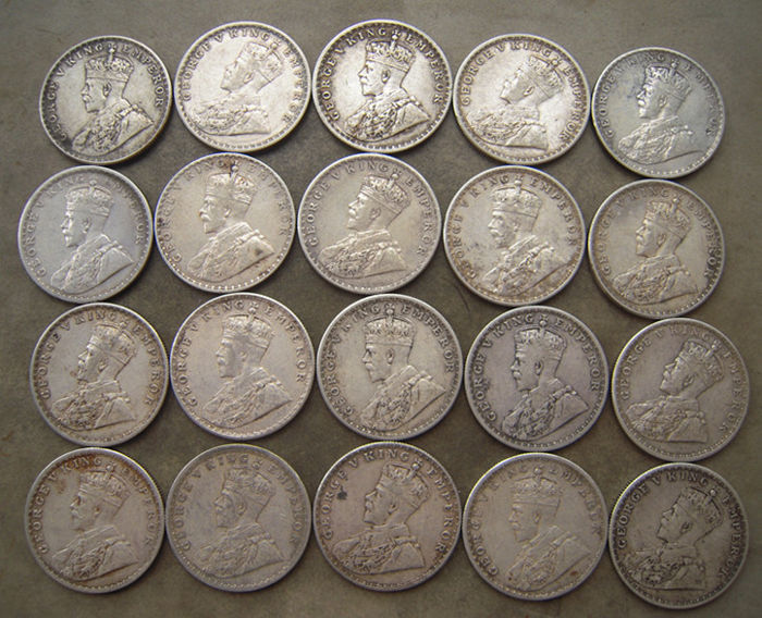 India, British - Rupee 1912/1919 George V (20 pieces) - silver